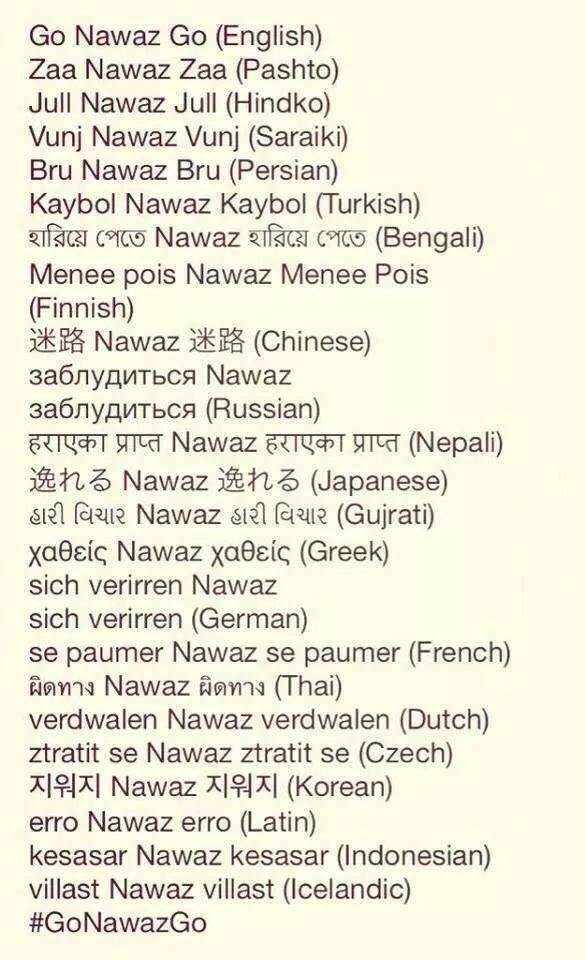 go nawaz go in many languages