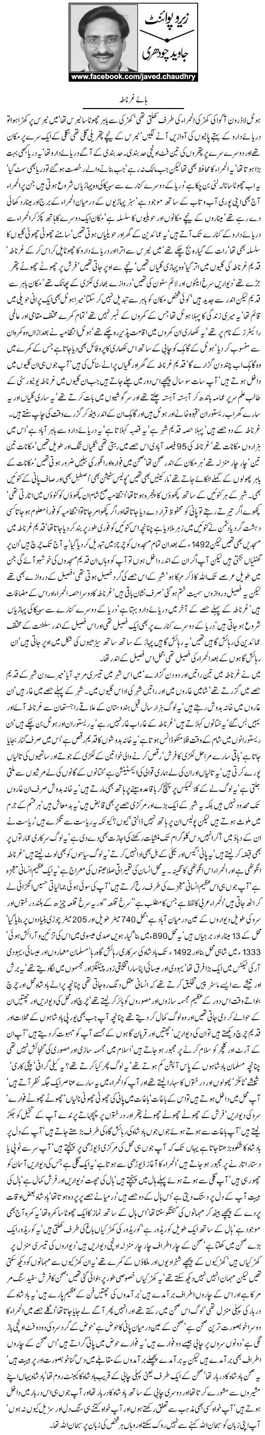 Javed Chaudhry Column | Haye Ghernatah | Zero Point